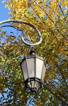 Free Old Lamp Against Autumn Foliage Royalty Free Stock Photo - 30748915