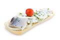 Free Sandwich With Herring, Onions, Cherry Tomato And Herbs Stock Photo - 30750750