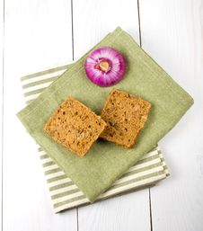 Free Bread Slices And Red Onio Stock Photo - 30750740
