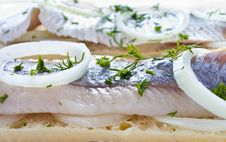 Free Sandwiches With Herring, Onions And Herbs Stock Image - 30750751