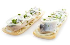 Free Sandwiches With Herring, Onions And Herbs Royalty Free Stock Photo - 30750755