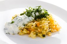 White Rice With Garlic Sauce On A Plate Royalty Free Stock Image