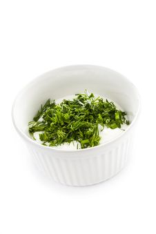 Free Sour Cream In Small Round Plate With Herbs Stock Photos - 30750763