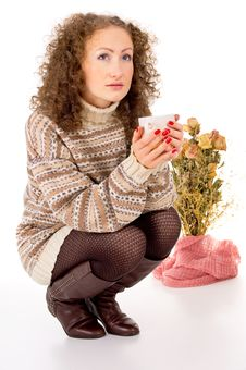 Free Winter Comfort Girl Resting In A Sweater Stock Photo - 30758420