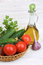 Free Vegetables And A Bottle Of Olive Oil Stock Photo - 30753040