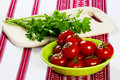 Free Tomatoes In A Green Bowl And Parsley Royalty Free Stock Image - 30768016