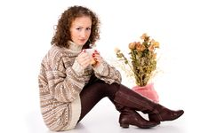 Free Beautiful Girl Sitting In A Sweater With A Mug Stock Photos - 30760493