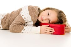 Free Beautiful Girl Lies On A Gift Box Royalty Free Stock Photography - 30760957