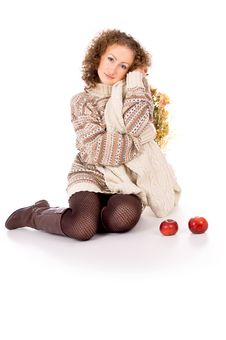 Free Beautiful Girl In A Sweater Sitting With Apples Stock Photos - 30761063