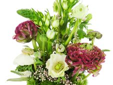 Fragment Of Colorful Bouquet Isolated On White Background. Close Royalty Free Stock Photo