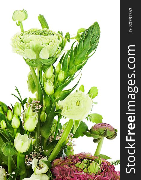 Fragment of colorful bouquet isolated on white background. Close