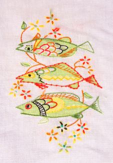 Free Cloth Embroidery Of Fish. Stock Images - 30774444