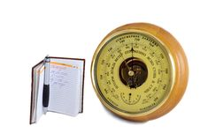 Free Barometer - Aneroid And The Notebook On A White Background Royalty Free Stock Photography - 30776237