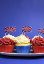 Free English Theme Red, White And Blue Cupcakes With Great Britain Union Jack Flags - Vertical With Copy Space. Stock Photo - 30788780