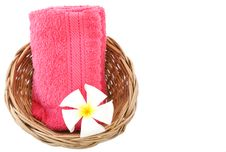 Free Towel In Basket Isolated White Background. Royalty Free Stock Photography - 30782577