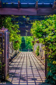 Free Garden Lattice Walkway With Stone Pavers And Vine Flowers Throug Stock Photos - 30787873