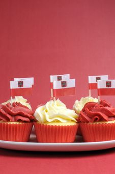 Free Polish Red And White Decorated Cupcakes - Vertical With Copy Space. Royalty Free Stock Photos - 30788498