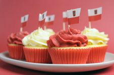 Free Polish Red And White Decorated Cupcakes - Close Up Wtih Bokeh. Stock Photos - 30788563