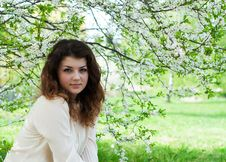 Young Girl In The Spring Garden