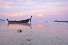 Fishing Boats At Sunrise Beach, Koh Lipe Royalty Free Stock Photo