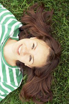 Free Girl Lies On Grass Stock Photo - 3080490