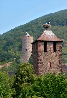 Free A Medieval Tower With Storks Stock Photo - 3081540