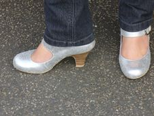 Free Glittery Sparkly Shoes Royalty Free Stock Photo - 3085165