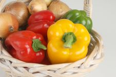 Basket With Fresh Peppers Royalty Free Stock Photography