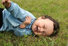 Free The Dared Baby On A Grass Stock Photos - 3087773