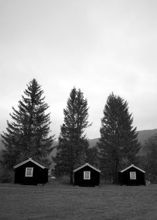 Three Huts, Norway. Royalty Free Stock Image