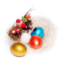 Free Colorful Eggs In A Wicker Royalty Free Stock Image - 30803136