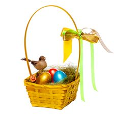 Free Colorful Eggs In A Wicker Stock Photos - 30803243