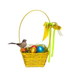 Free Colorful Eggs In A Wicker Stock Photography - 30803382