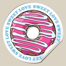 Free Sticker With Donut. Royalty Free Stock Photography - 30807767