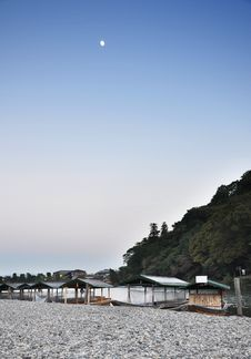 Boats On Katsura River In Arashiyama, Kyoto, Japan Royalty Free Stock Photography