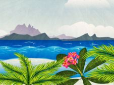 Free Grunge Tropical Island In The Ocean Royalty Free Stock Photo - 30808325