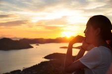 Free Side Portrait Of Girl Making Phonecall When Sunset Stock Photo - 30808990