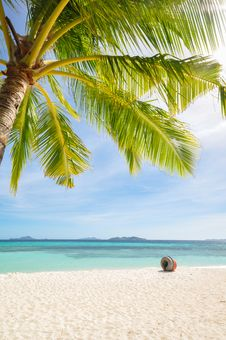 Free Beautiful White Beach And Blue Sky Royalty Free Stock Photography - 30809027