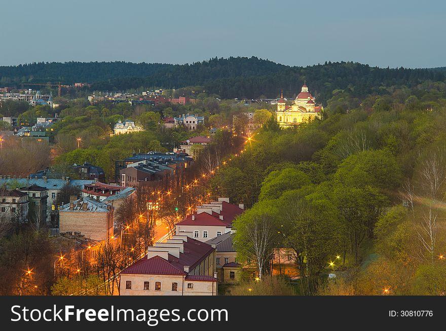 Vilnius in the sunset