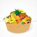 Free Delicious Fruit Basket. Cartoon Illustration Stock Photo - 30823500