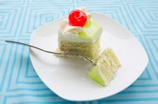 Vanilla Cake Slice And Fresh Cherry Royalty Free Stock Photo