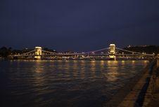 Illuminated Szechenyi Chain Bridge Royalty Free Stock Image
