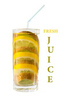Free Concept Juice. Mixed Fruits In Glass With Pipe Royalty Free Stock Photos - 30822688