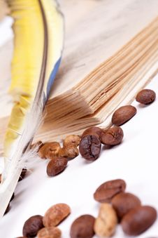 Free Coffee Pen And Notebook Royalty Free Stock Photos - 30824828