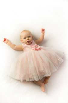 Free Happy Baby Girl In Pink Frilly Party Dress Stock Images - 30828144