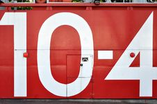 Free Red Japanese Tsunami Watertight Door With The Number 10-4 Stock Photos - 30828903