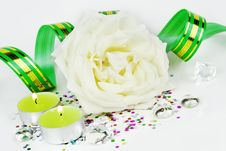 White Rose And Candles Stock Photo