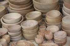 Free Wooden Bowls For Sale At The Local Flea Market Stock Photos - 30838183