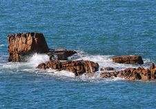 Coastal Scene In Guernsey With  Rocks Royalty Free Stock Photography