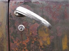Door Handle On Rusty Truck
